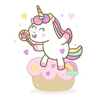Vettore di unicorno carino con caramelle e torta