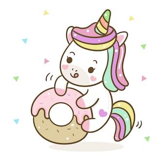 Vettore di unicorno carino con ciambella pastello