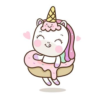 Vettore di unicorno carino con gelato e ciambella stile disegnato a mano