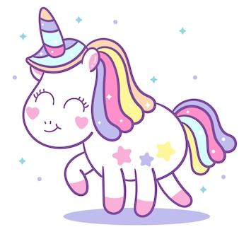Vettore di unicorno carino con mini stella