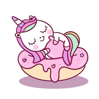 Vettore di unicorno carino dormire su cupcke