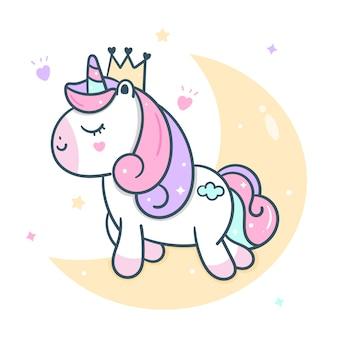 Vettore di unicorno carino principessa sulla luna