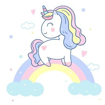 Vettore di unicorno carino su stile disegnato a mano arcobaleno