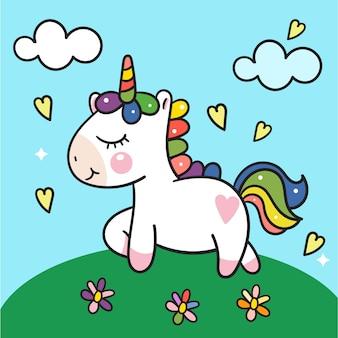 Vettore di unicorno carino sul giardino colorato
