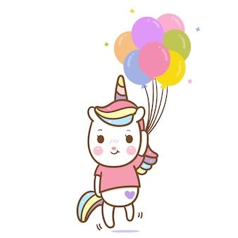 Vettore di unicorno carino tenendo palloncino pastello