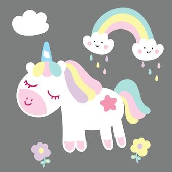 ] vettore di unicorno con arcobaleno e fiori