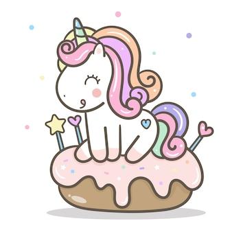Vettore di unicorno kawaii con torta