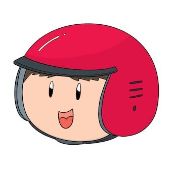 Vettore di uomo che indossa il casco
