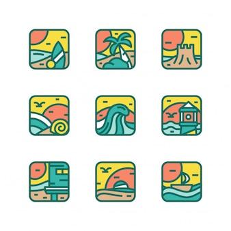 Vettore di vacanza icona spiaggia isolato
