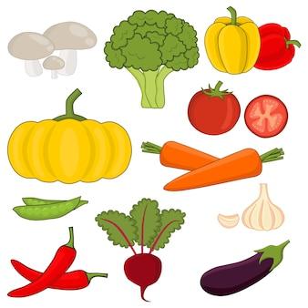 Vettore di verdure impostato in stile cartone animato. collezione di prodotti agricoli per il menu del ristorante