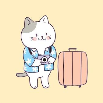 Vettore di viaggio carino gatto estate del fumetto.