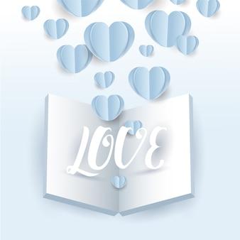 Vettore di volo di carta di cuori di san valentino con libro aperto e lettera d'amore su sfondo blu, cartolina d'auguri