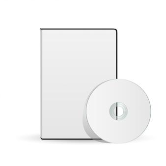 Vettore disco compatto bianco vuoto con copertina mock up modello