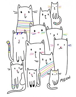 Vettore disegnato a mano del gattino per la stampa della maglietta