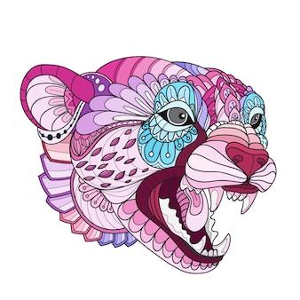 Vettore disegnato a mano dell'illustrazione del ghepardo di doodle zentangle
