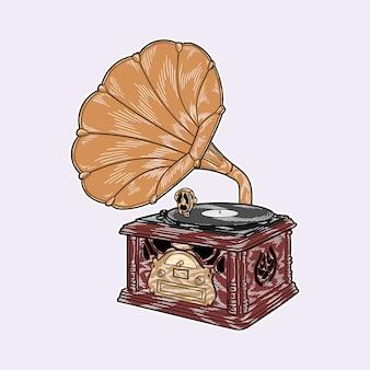 Vettore disegnato a mano dell'illustrazione del retro disco di vinile