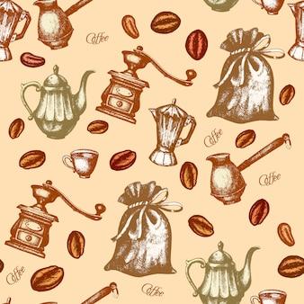 Vettore disegnato a mano dell'inchiostro del modello senza cuciture d'annata del caffè retro
