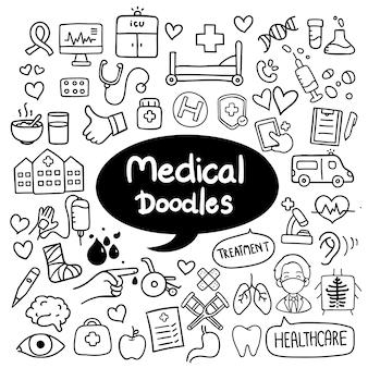 Vettore disegnato a mano di scarabocchi medici e sanitari