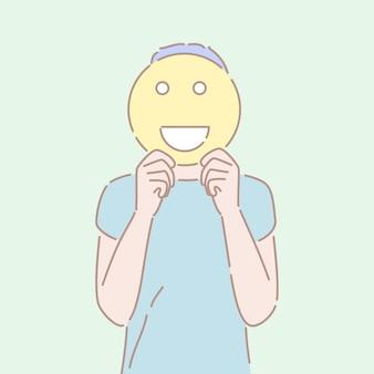 Vettore disegnato a mano di stile di un uomo che tiene un segno sorridente davanti al suo fronte.