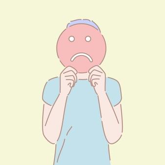 Vettore disegnato a mano di stile di un uomo che tiene un segno triste davanti alla sua faccia.