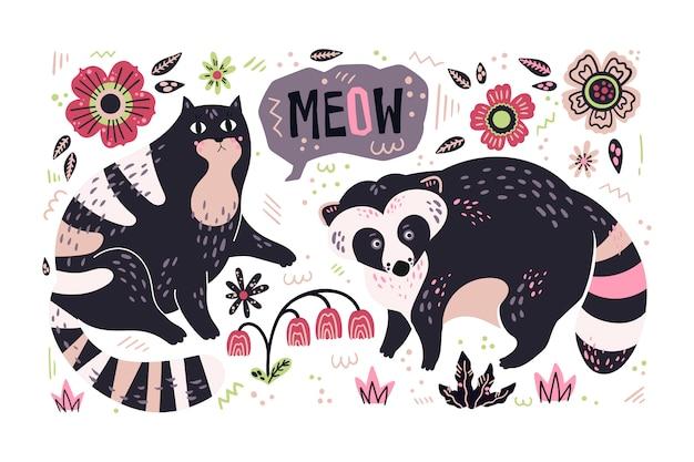 Vettore disegnato a mano piatta procione e gatto circondato da piante e fiori.
