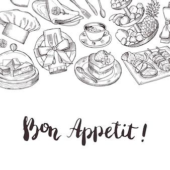 Vettore disegnato a mano ristorante o elementi di servizio in camera