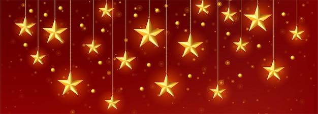 Vettore dorato decorativo del modello delle stelle di natale
