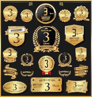 Vettore dorato dei distintivi e delle etichette di retro anniversario di anniversario