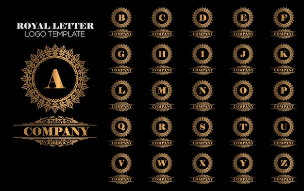 Vettore dorato reale del modello di marchio di lusso