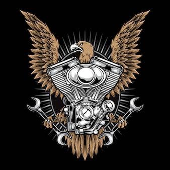 Vettore e logo dell'aquila del motociclo