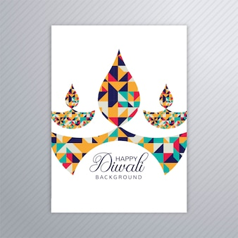 Vettore elegante del modello dell'opuscolo della cartolina d'auguri elegante di diwali