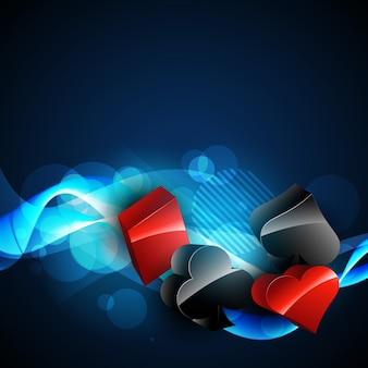 Vettore elementi di carta da casinò 3d design in sfondo blu