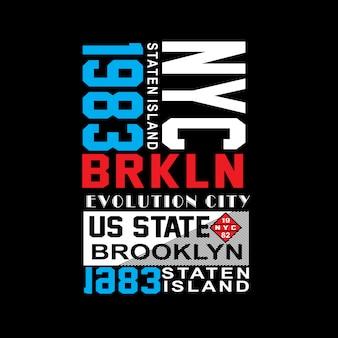 Vettore famoso della maglietta di tipografia del posto di brooklyn di new york