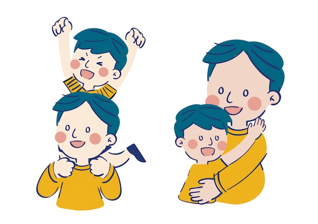 Vettore felice dell'illustrazione del padre e del figlio
