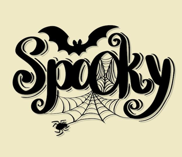 Vettore felice di halloween che segna calligrafia con lettere di festa.