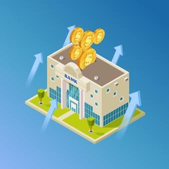 Vettore finanziario, commerciale, bancario. edificio della banca isometrica
