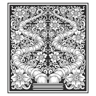 Vettore floreale del disegno della mano dell'illustrazione dei fiori della pianta