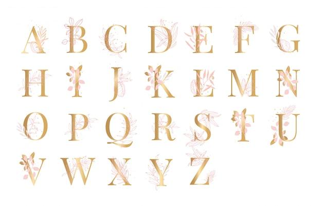 Vettore floreale dell'illustrazione del fondo di alfabeto dorato