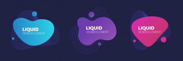 Vettore fluido o liquido di progettazione dell'elemento grafico su fondo scuro