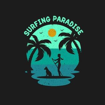 Vettore freddo di progettazione dell'illustrazione di paradiso praticante il surfing