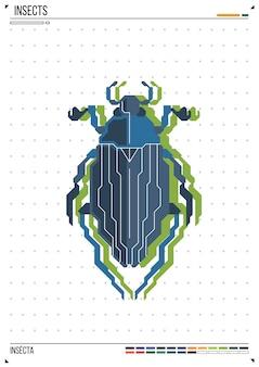 Vettore geometrico bug o scarabeo. insetto sullo sfondo del poster