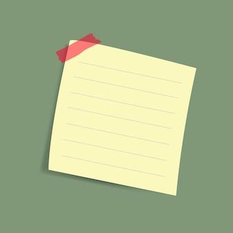 Vettore giallo in bianco della nota di carta di ricordo