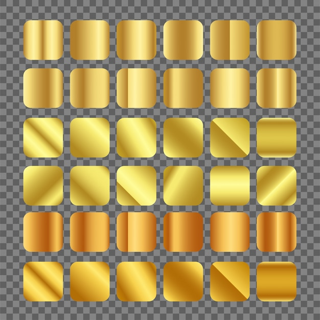 Vettore gradiente d'oro su sfondo trasparente