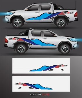 Vettore grafico del camion e dell'automobile della motrice a 4 ruote. disegno di linee astratte per vinile di veicoli