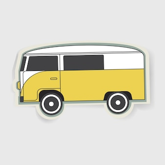 Vettore grafico dell'illustrazione di viaggio di van car vehicle yellow