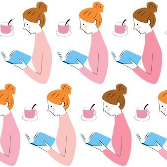 Vettore grazioso sveglio del libro e della ragazza del modello senza cuciture.