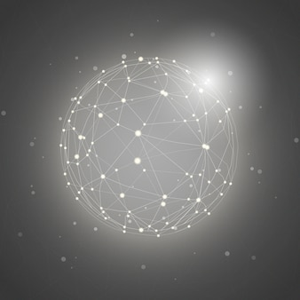Vettore grigio dell'illustrazione del fondo del collegamento in tutto il mondo