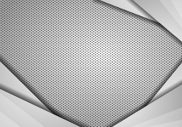 Vettore grigio di dimensione di sovrapposizione del fondo astratto. metallo con maglie, sfondo modello di progettazione moderna tecnologia.
