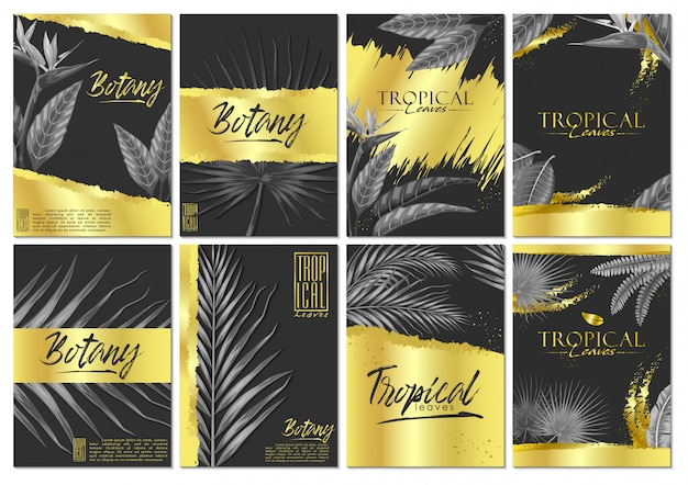 Vettore imposta carta di invito foglie tropicali esotici