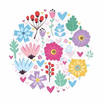 Vettore impostato con fiori e bacche